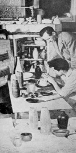 Rex Dixon with ceramics students c. 1955