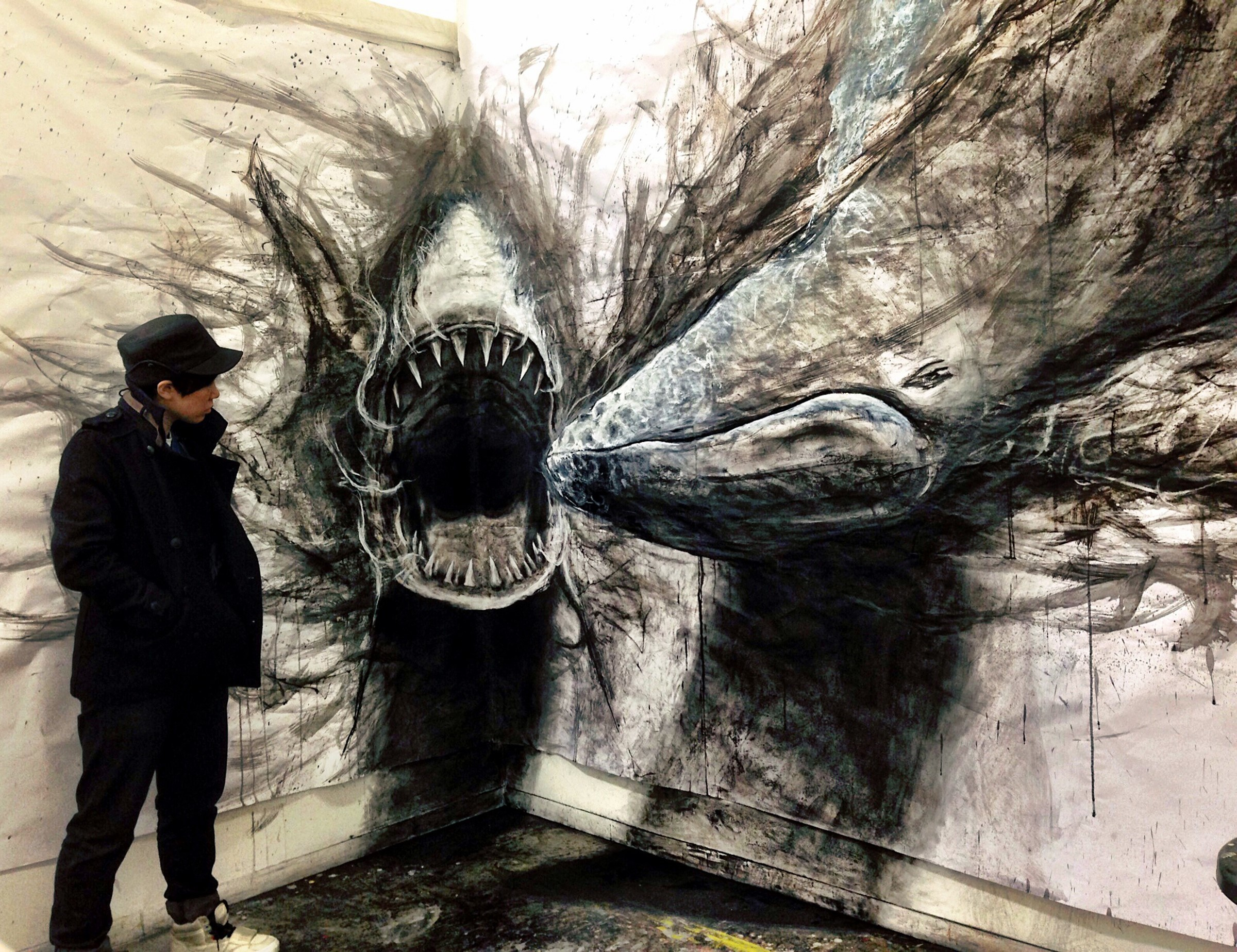 Fiona Tang Shark VS Humpback Whale 2014 charcoal ink acrylic graphite chalk pastel 38 x 25 cm